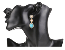 Load image into Gallery viewer, Rhinestone & Pearl Drop Earrings in Turquoise