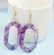 Load image into Gallery viewer, Oval Resin Earrings in Purple