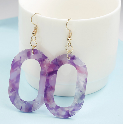 Oval Resin Earrings in Purple