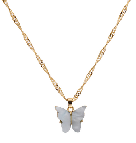 Elegant Butterfly Pendant Necklace in Grey