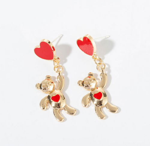 Teddy Bear Heart Earrings