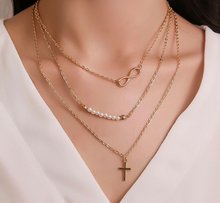 Load image into Gallery viewer, Cross and Eternity Layered Necklace in Gold