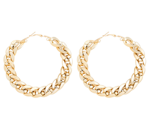 Medium Chain Hoop Earrings in Gold
