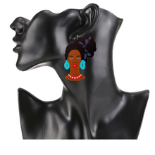 Load image into Gallery viewer, Model Head-Tie Earrings in Black & Blue
