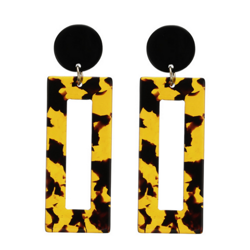 Tortoiseshell Rectangle Earrings