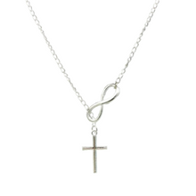Load image into Gallery viewer, Cross and Infinity Necklace in Silver
