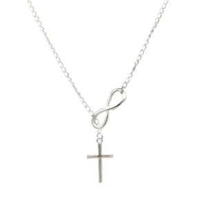Cross and Infinity Necklace in Silver