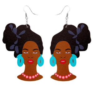 Model Head-Tie Earrings in Black & Blue