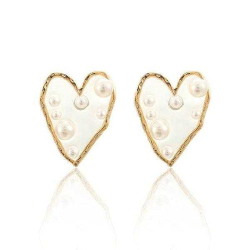 Pearl Heart Stud Earrings
