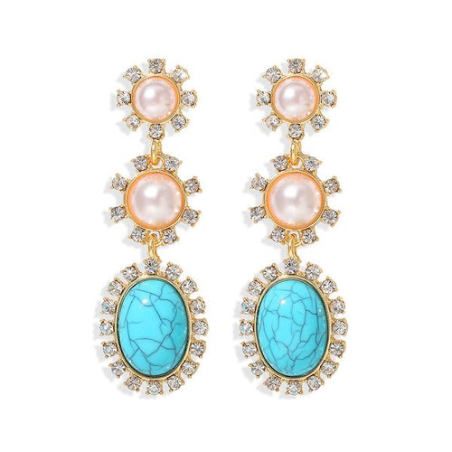 Rhinestone & Pearl Drop Earrings in Turquoise
