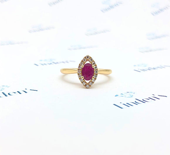 Oval Ruby and Marquise Halo Ring