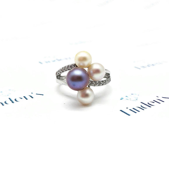 Pearl Cluster and Diamond Accent Ring