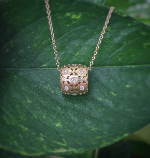 Diamond and Gold Rondelle Necklace