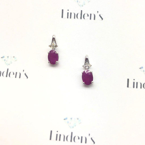 Oval Ruby and Diamond Drop Earrings