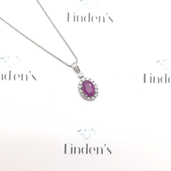 Oval Ruby and Diamond Halo Pendant