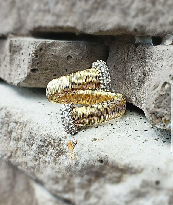 Gold and Diamond Accent Bypass Ring