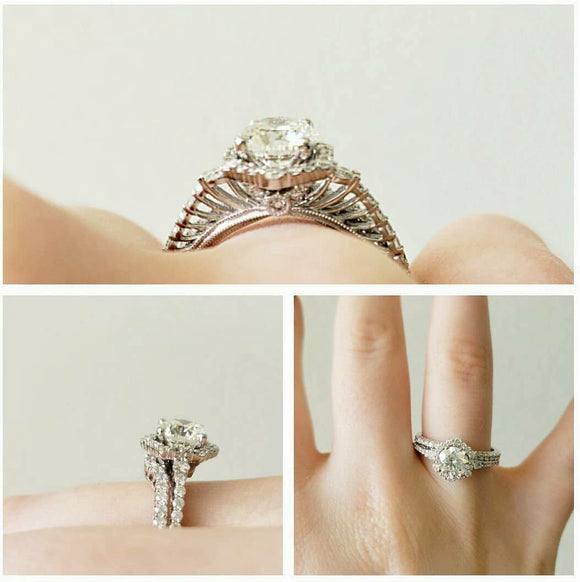 Julia Diamond Halo Wedding Set