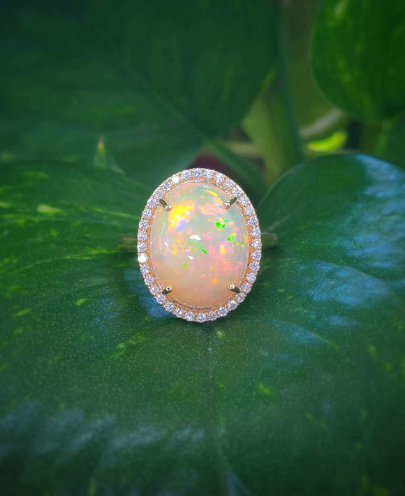 Ethiopian Opal and Diamond Ring