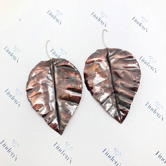 Large Firepainted Leaf Earrings