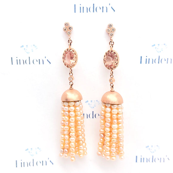 Pink Pearl Tassel Earrings