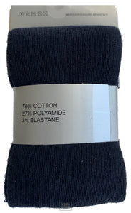 Girls Cotton Tights - Single Pack (Navy)
