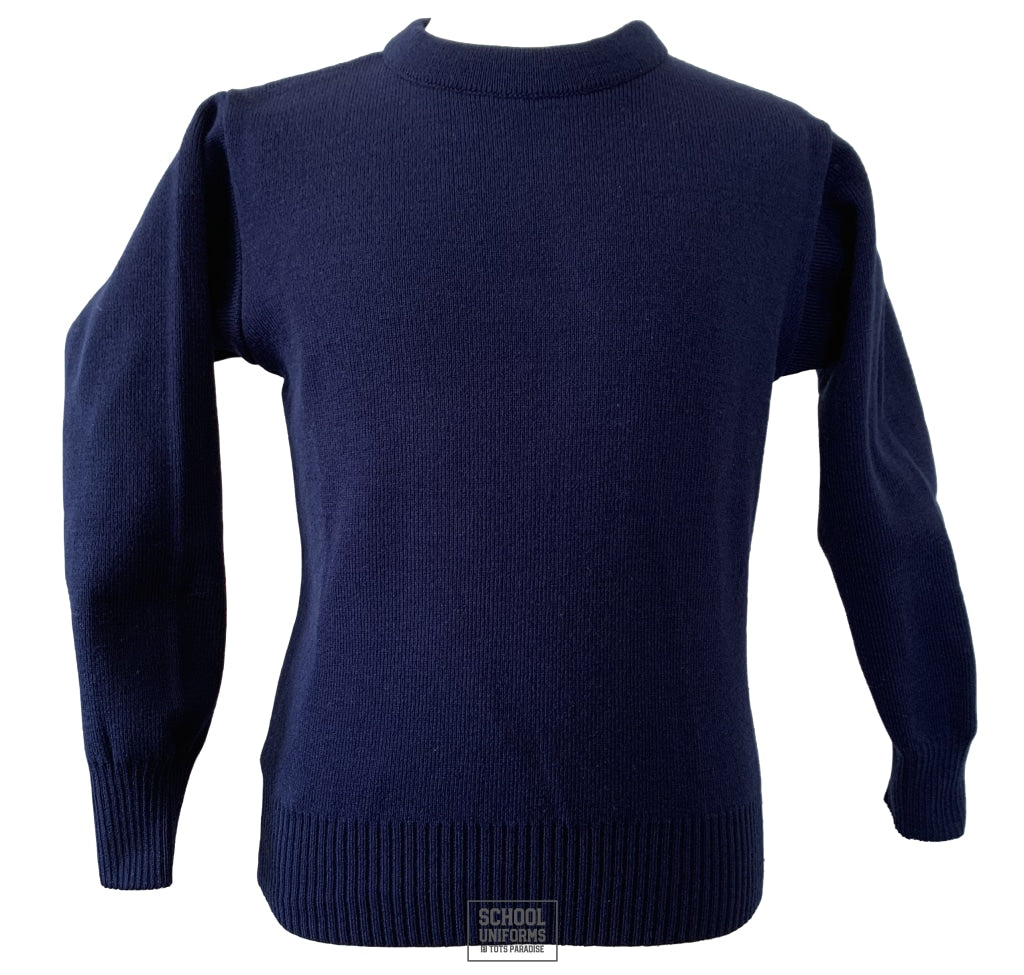 Non-Crested Round Neck Jumper (Navy - Senior Cycle)