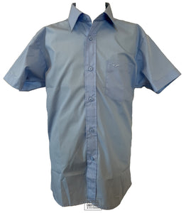 Short Sleeve Regular Fit School Shirt (Blue) (Single Pack)