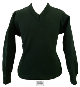V-Neck Jumper Uncrested (Bottle Green)