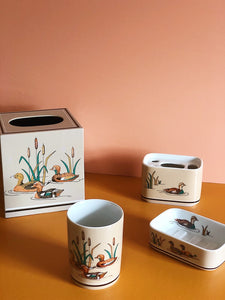 andre richard wood ducks ceramic bath set