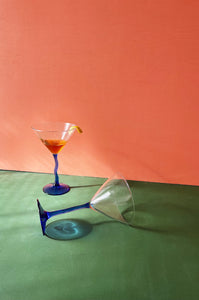 vtg cobalt blue squiggle stem martini glasses