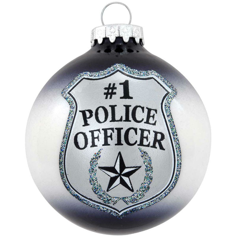 #1 Police Officer Badge Glass Ornament 1188882