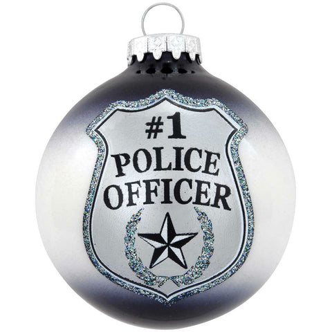 #1 Police Officer Badge Glass Ornament