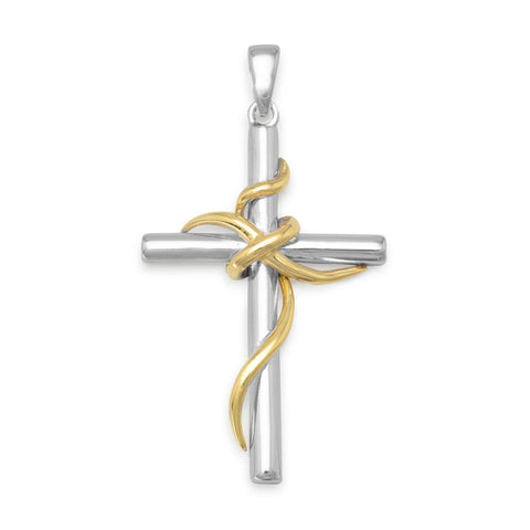 14k Gold & Sterling Silver Wrapped Cross Pendant