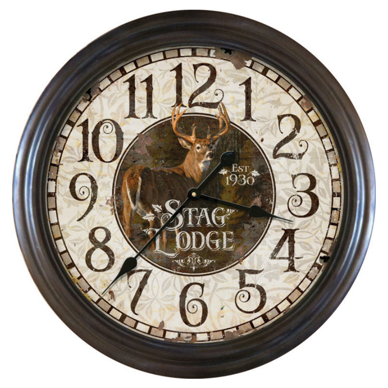 26 Inch Stag Lodge Deer Wall Clock 1032