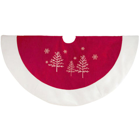 32 Inch Red Velvet Snowflake Christmas Tree Skirt
