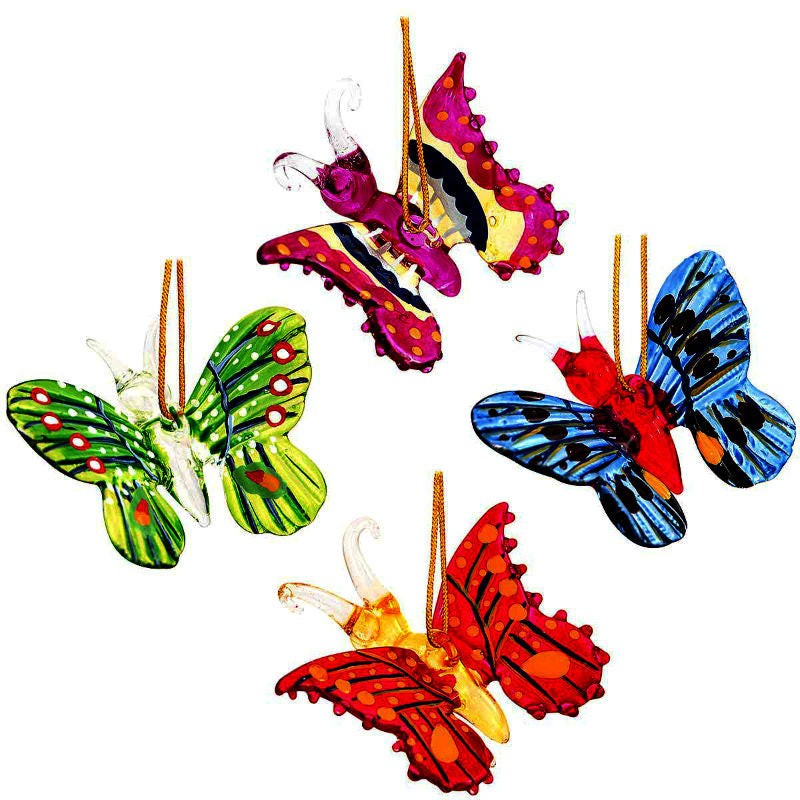 4 Pc Spun Glass Butterfly Ornaments 1189916