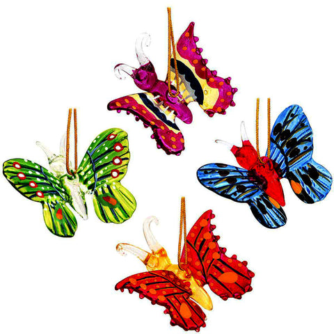 4 Pc Spun Glass Butterfly Ornaments