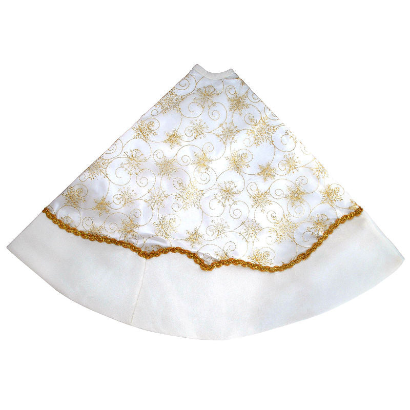 48 Inch Ivory and Gold Snowflake Christmas Tree Skirt 1185889