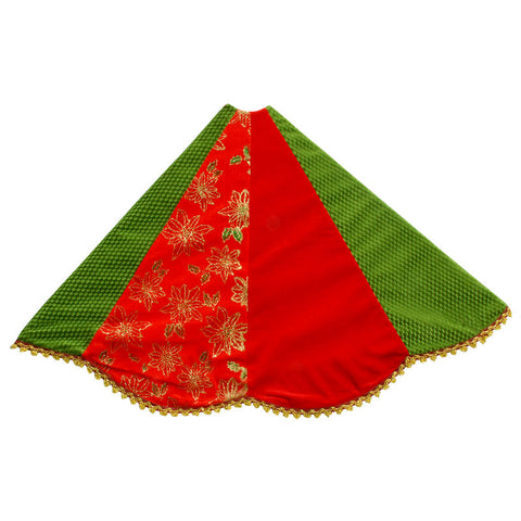 48 Inch Red and Green Patchwork Christmas Tree Skirt