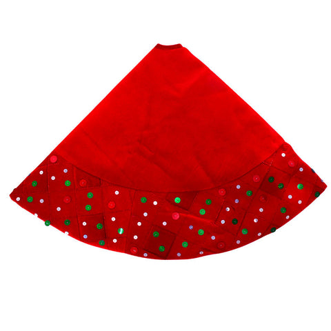 48 Inch Red Velvet Sequined Christmas Tree Skirt