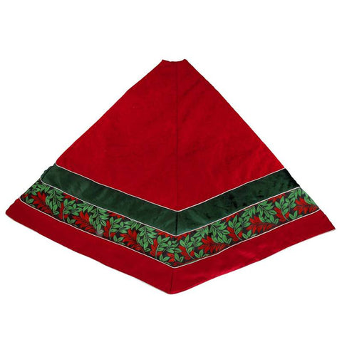 56 Inch Red Velvet Christmas Tree Skirt
