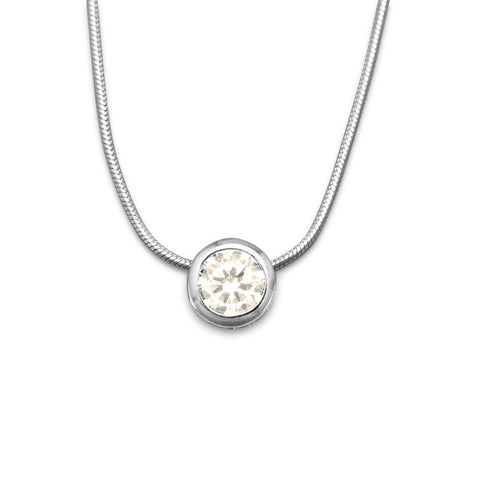 7mm Bezel Set CZ Slide Necklace