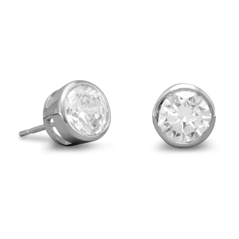 7mm Round Bezel CZ Post Earrings 1622