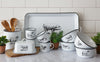 White Enamelware Cow Butter Dish
