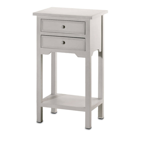 White Two Drawer Side Table