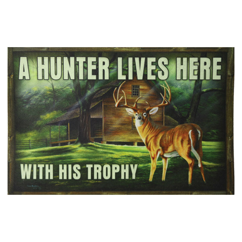 A Hunter Lives Here With His Trophy Deer Door Mat 2503