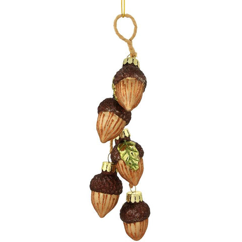 Acorn Cluster Glass Ornament