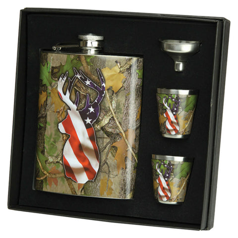 American Flag Deer Camo Flask and Shot Glasses Gift Set