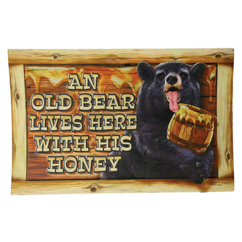 Old Bear Lives Here With His Honey Door Mat