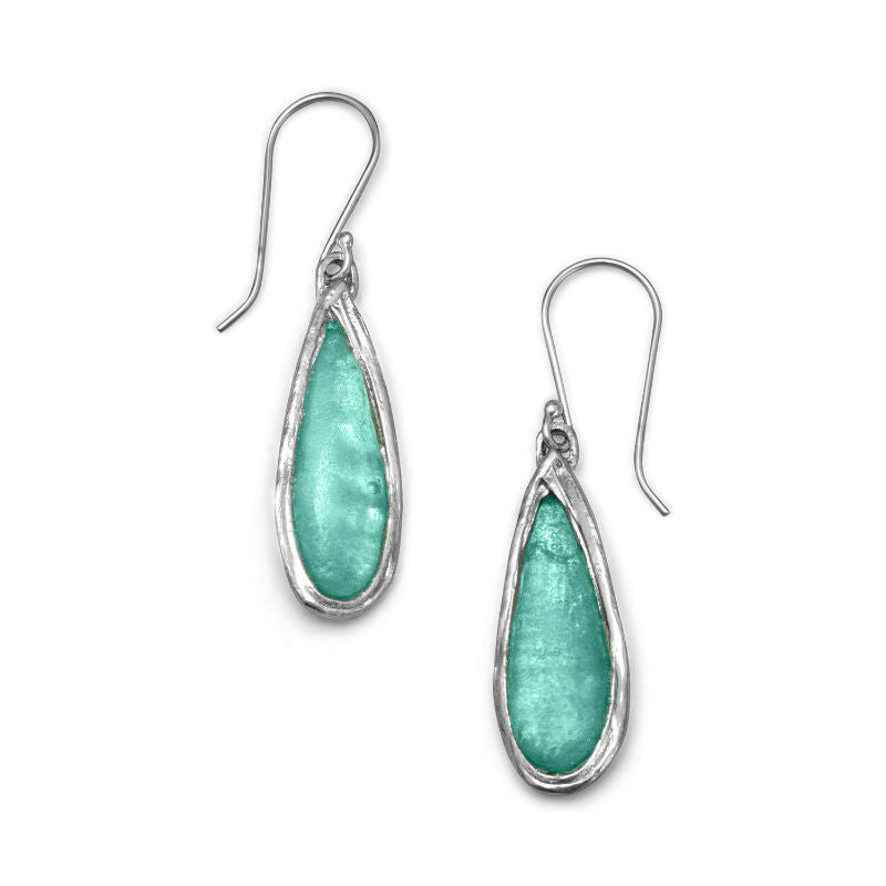 Ancient Roman Glass Pear Drop Earrings 66121